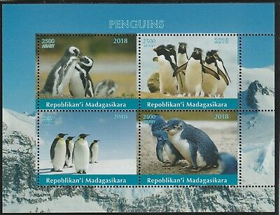 Madagascar 7689 - 2018   PENGUINS  perf sheet of 4 unmounted mint