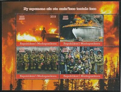 Madagascar 7693 - 2018   FIRE FIGHTERS  perf sheet of 4 unmounted mint