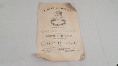 Antique Madame A Ruppert complexion Specialist NY DC Face Bleach Pamphlet