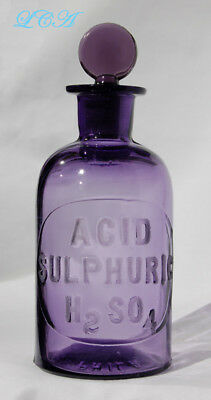 SCARCE purple WHITALL TATUM embossed penny stopper SULPHURIC ACID bottle 1879