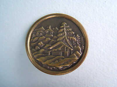"""Antique Victorian Brass Picture Button Large 1 7/16"""" Snowy Mountain Cabin"""