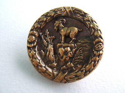 """Antique Victorian Brass Picture Button Large 1 7/16"""" Mountain Goat"""
