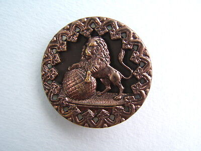 """Antique Victorian Brass Picture Button Large 1 1/2"""" Lion and World Globe"""