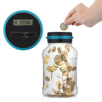 EU Wide Digital Counting LED MONEY Electric Coins Bottle Saving Box Coins Jar