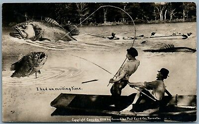 Fishing Exiting Time Canada 1910 Antique Exaggerated Real Photo Postcard Rppc