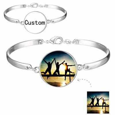 Personalized Custom Photo Picture Engraved Cuff Bracelet Bangle Women Jewelry