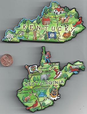 WEST VIRGINIA WV and KENTUCKY KY  ARTWOOD  JUMBO STATE MAP MAGNET SET -  2 NEW