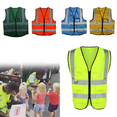 High Visibility Safety Vest With Zipper Reflective Jacket Security Waistcoat