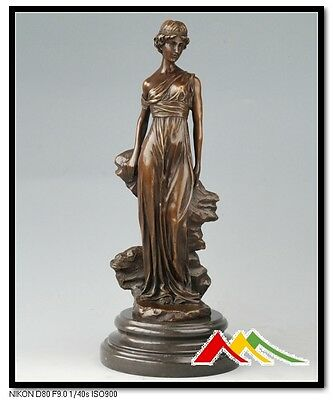 SIGNED Preiss Bronze Sculpture Art Nouveau Deco Lady Statue