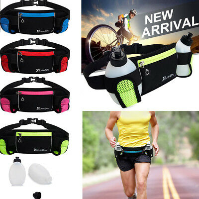 Running Bum Bag Fanny Pack Travel Waist Belt Pouch Sports Wallet + 2PC Water Bag