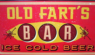 """Bar Door/wall Plaque Sign """"old Fart's Bar Ice Cold Beer"""" Father's Day Gift Bn"""