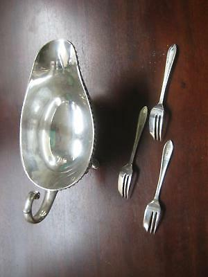 M.S. LTD EPNS silver gravy bowl and three forks Sheffield England silverware