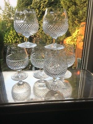 Signed 1st Quality Stuart Crystal Beaconsfield Set Of Six Brandy Glasses Unused