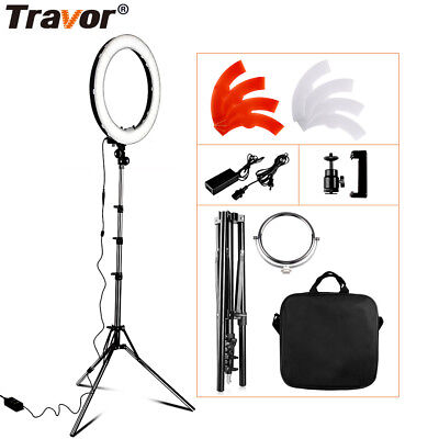 "Travor 18"" LED Photography Ring Light Dimmable 5500K Lighting Photo Video Stand"