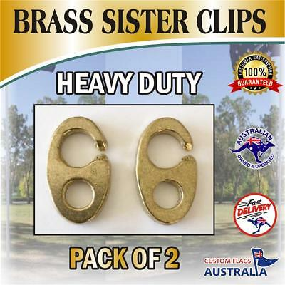 Brass Sister Clip  Pack of 2 Clips For Flags/Boats/Yachts/Marine/Nautical