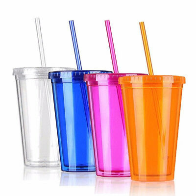 Smoothie Plastic Drink Cup Iced Coffee Juice w/Straw Liquid Beaker Lid Party CHJ