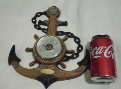 1960's VINTAGE ANCHOR TEMPERATURE GAUGE BAROMETER NAUTICAL SHIPW KITSCH FRENCH