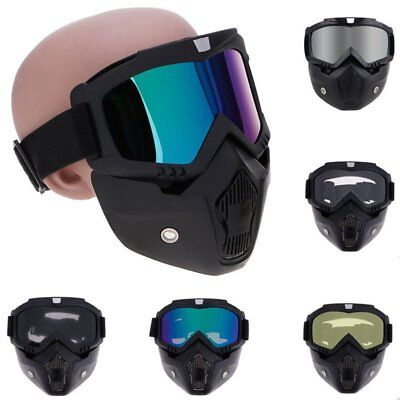 Motorcycle BIke Helmet Full Face Mask Adjustable Filter Mouth Goggles Eyewear