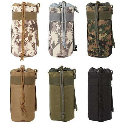 Camo Outdoor Camping Water Bottle Shoulder Carrier Insulated Cover Bag Holder au