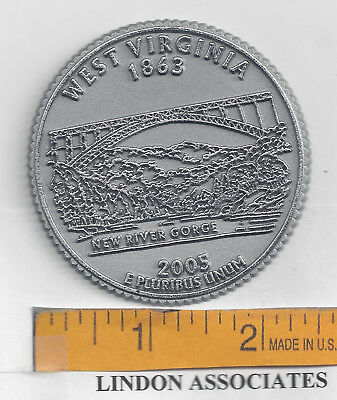 West Virginia Souvenir State Quarter Fridge Magnet   NEW RIVER GORGE