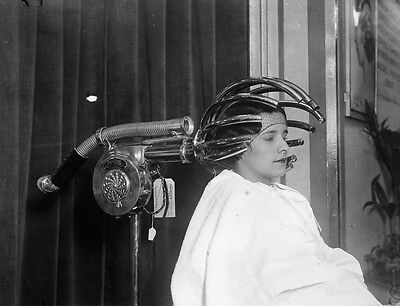 1930s Women at Beauty show under Art Deco chrome hair Dryer  8 x 10  Photograph