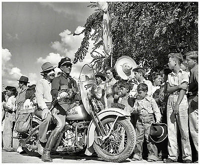 New Mexico State Police Motorcycle at Fiesta parade 1940 8 x 10 Photograph