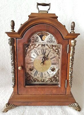 Warmink Mantel Clock Dutch Shelf Bracket Nut Wood 8 Day Moonphase Bell Strike