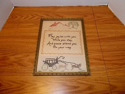 Vintage Framed Embroidered Print and Joy & Peace Homily Guest Room