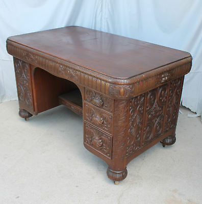 Antique Highly Carved Mahogany Partners Desk - Smooth Lines - Unique Style