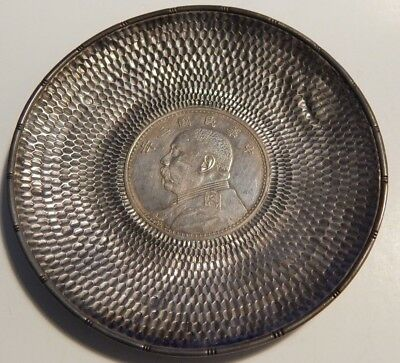 Antique Chinese Silver Plate with 1914 General Yaun Fat Man Dollar Estate Find