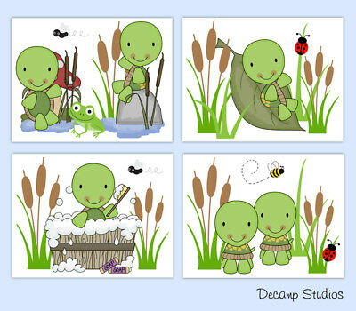 Turtle Nursery Prints Neutral Baby Pond Wall Art Kids Bathroom Room Ladybug Bee