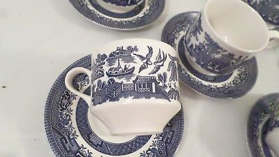 11 pc Vintage Churchill England Asian Theme Blue Willow Tea Cups & Saucers