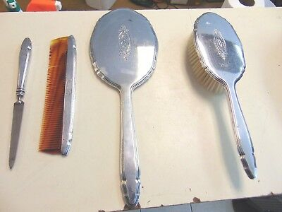 Antique Blackinton Sterling Silver Hairbrush Mirror Comb Holder Vanity 4 pieces*