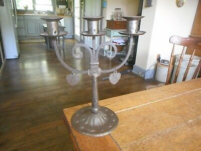 Vintage Primitive Wrought Iron Candle Holder Candelabra-DANGLING HEARTS-Germany