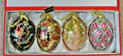 """2007 Joan Rivers Classics Collection Russian Inspired Set 4"""" Egg Ornaments"""