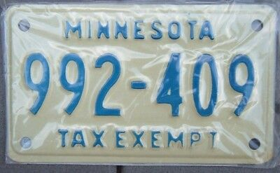 MINNESOTA 1980s -1990s Motorcycle TAX EXEMPT Cycle License plate  992 - 409  ^