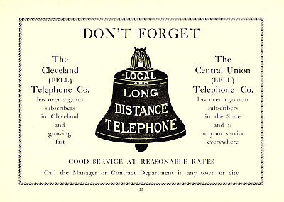 1905 Central Union Telephone Company, Cleveland, Ohio Local Long Distance Ad