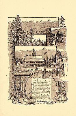 1889 Wawona Hotel, Mariposa, California Big Tree Grove Lithograph