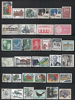 SWEDEN - Mixed lot of 34 Stamps, most Good - Fine Used, LH