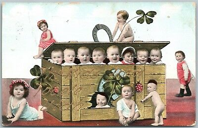 TOOELE UTAH KIDS MULTIPLE BABIES 1908 ANTIQUE POSTCARD w/ CORK CANCEL
