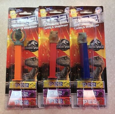 PEZ Jurassic World set of All 3 on Card and New Candy Packaging First Release