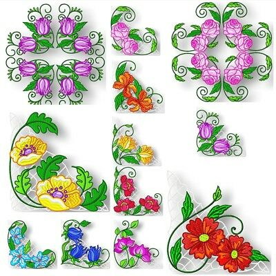 BORDERS FLOWER CORNERS CENTRES MACHINE EMBROIDERY DESIGNS CD or USB