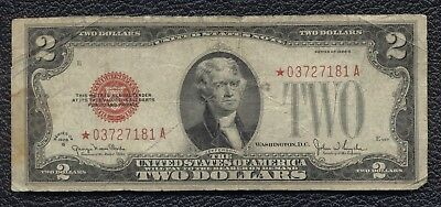 1928 G Red Seal $2 Dollar Bill Old Us Star Note Error Replacement Legal Tender