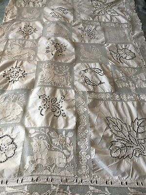 Beautiful Vintage Hand-Embroidered Tablecloth With Handmade Filet Lace