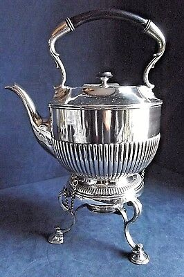 SUPERB Large ~ SILVER Plated ~ FLUTED Spirit KETTLE on Stand ~ c1890 James Dixon