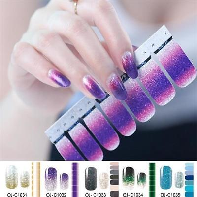 Self Adhesive Wraps Gradient Color Nail Stickers Glitter Powder Full Cover