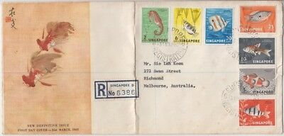 Stamps Singapore 7 fish on official 1962 FDC registered sent Melbourne Australia
