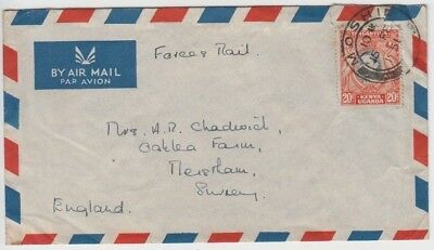 Stamp Kenya 20c KGV1 1951 airmail cover forces mail re Mau Mau rebellion