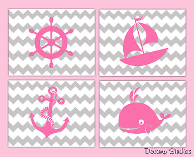 Nautical Girl Nursery Prints Wall Art Pink Gray Grey Chevron Whale Kids Room