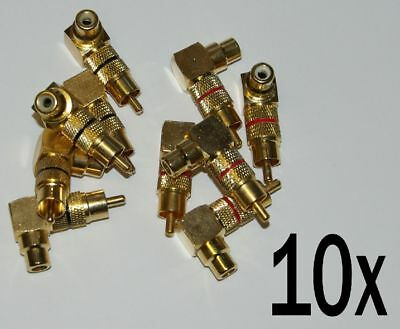 10 x HIGHEND RCA Adapter Cinch Winkeladapter vergoldet